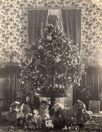 President Grover Cleveland, (1837-1908), was the first to have a tree illuminated by electricity in the White House, during America's Gilded Age era, c.1896. Cleveland served two terms as President - first as the 22nd President, from: c.1885 - c.1889, and as the 24th President from, c.1893 - c.1997. ~ {cwl} ~~ (Image: White House Historical Association - on flickr)