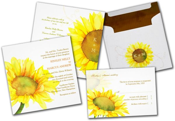 Wedding Cards and Gifts: Yellow Watercolor Sunflower Floral Wedding Invites...