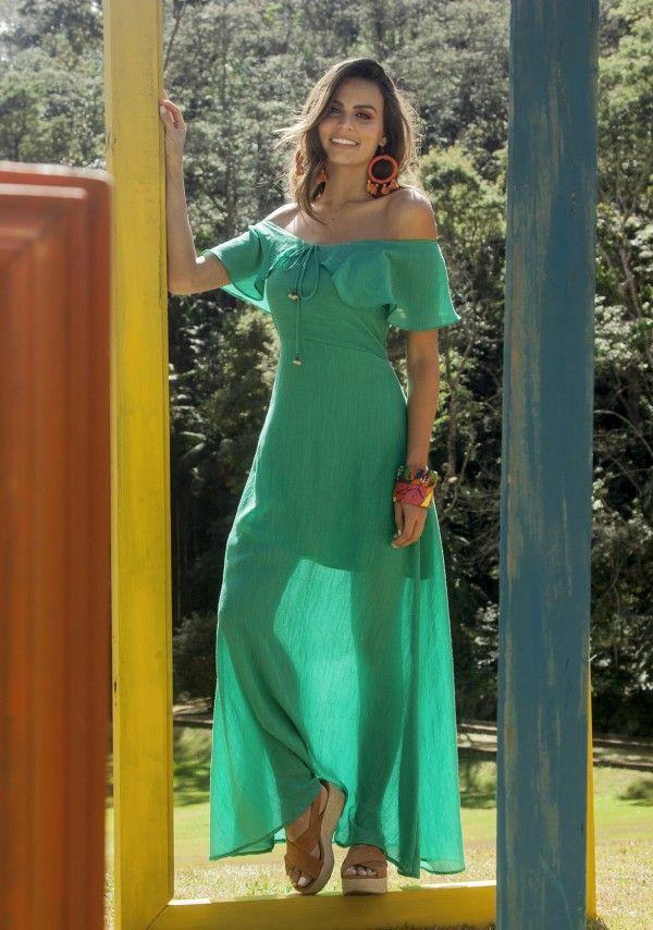 5b0dade72 vestido longo liso com babado   Primavera Verão 2019   Fashion ...