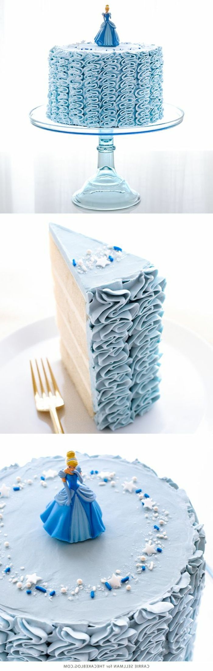 tartas-de-cumpleaños-dibujo-cenicienta-tarta-azul-niños-Disney