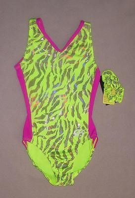 Nwt Gk Neon Yellow Lycra Gymnastic Leotard Cl 122216d +Scrunchie