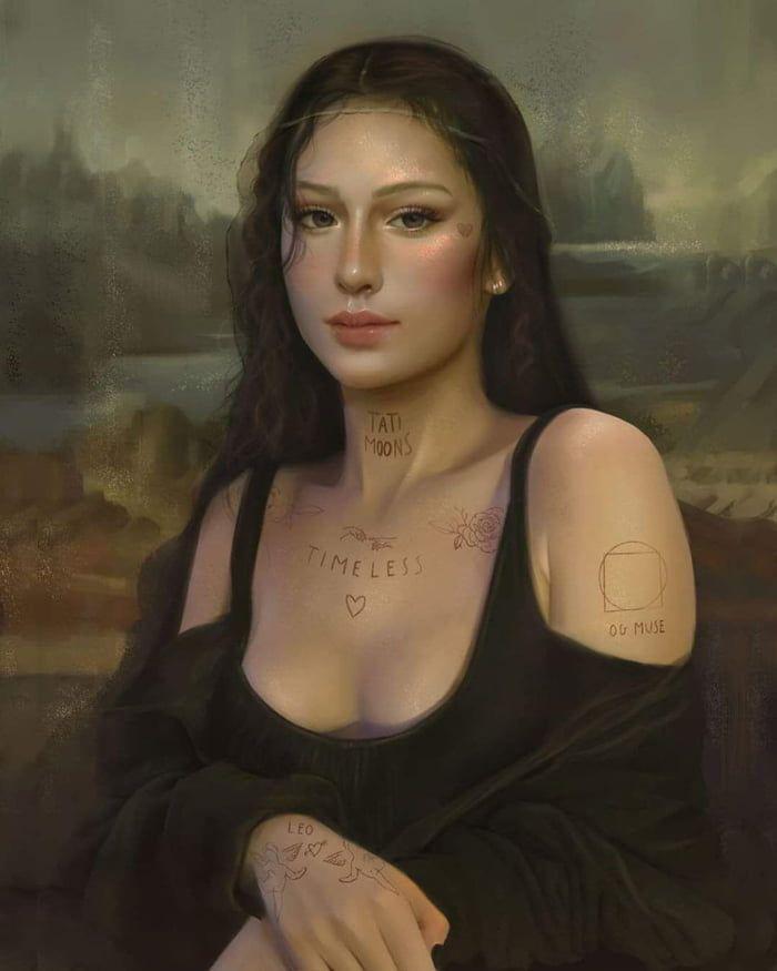 Monalisa In Tinder Seni Gelap Gambar Ilustrasi 3d