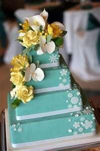 aqua and yellow cake: Yellow Wedding Cakes, White Flower, Teal Yellow, Cakes Ideas, Flower Cakes, Blue Cakes, Yellow Cakes, Cakes Wedding, Yellow Flower