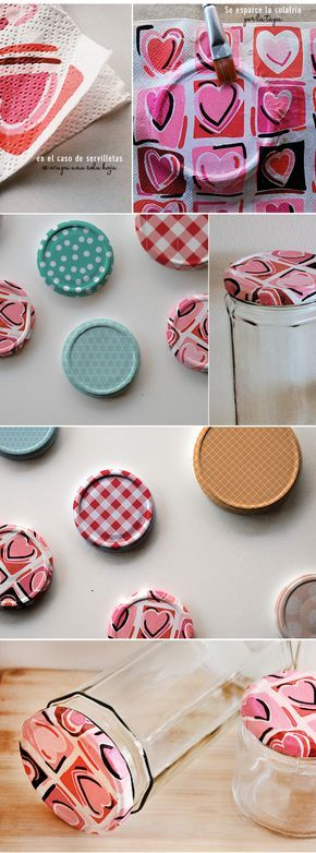 I can't get to this link but it looks like paper towel/napkin with modge podge for lids.  Cool idea.