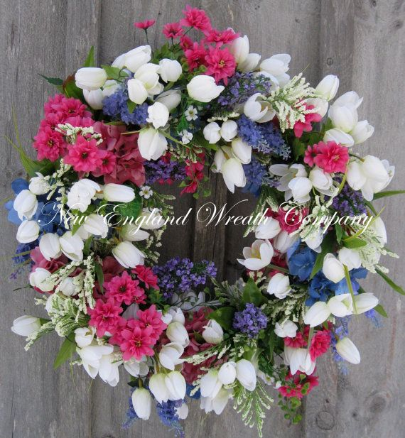 Spring Wreath, Easter Wreath, Designer Floral, Garden Floral Décor, Country Cottage, Mother's Day Gift, Wedding Wreath