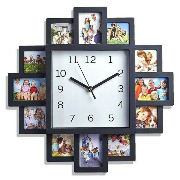 Brand New 12 Multispaced Modern Family Wall Clock Collage Picture Frame In 2020 Wall Clock Collage Wall Clock With Pictures Family Wall Clock