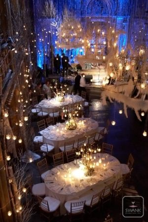 Lighting state - reception room. Small hanging white candle laterns, dark blue washes up walls