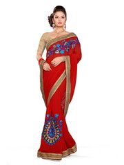 Red Color Chiffon Function & Party Wear Sarees : Aditri Collection  YF-41461