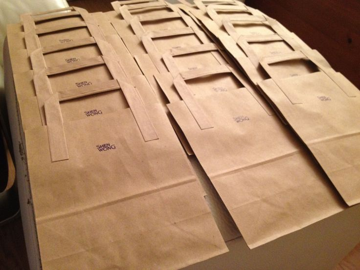 Hand stamped customer bags for markets.