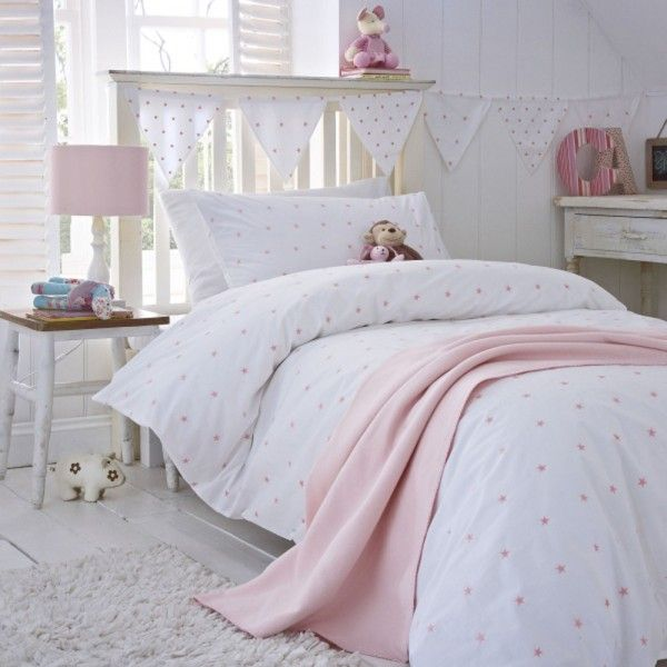 All Over Stars Duvet Cover Design In Pretty Pink Featuring Embroidered On A Crisp White Cot Bed
