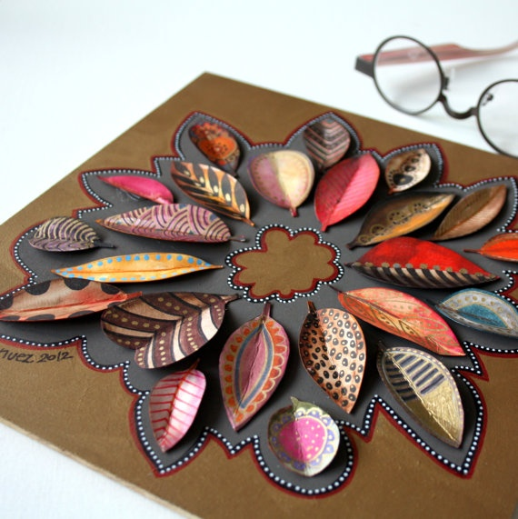ideas for displaying the kids painted leaves