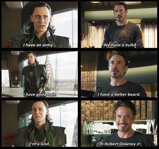 Loki, Tony Stark, Avengers humor