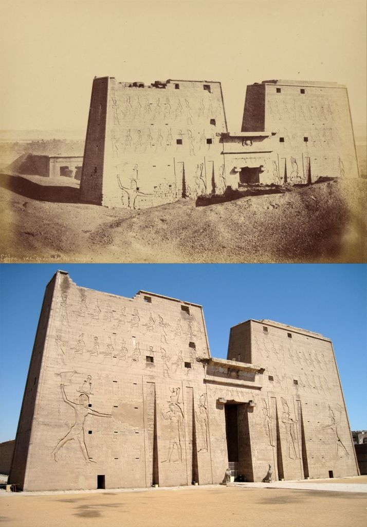 Edfu 1831 and today. Temple of Edfu is an ancient Egyptian temple located on the west bank of the Nile in the city of Edfu which was known in Greco-Roman times as Apollonopolis Magna, after the chief god Horus-Apollo. It is one of the best preserved temples in Egypt. The temple, dedicated to the falcon god Horus, was built in the Ptolemaic period between 237 and 57 BC. 10 World Monuments - Now and then in pics - HeritageDaily - Heritage & Archaeology News.