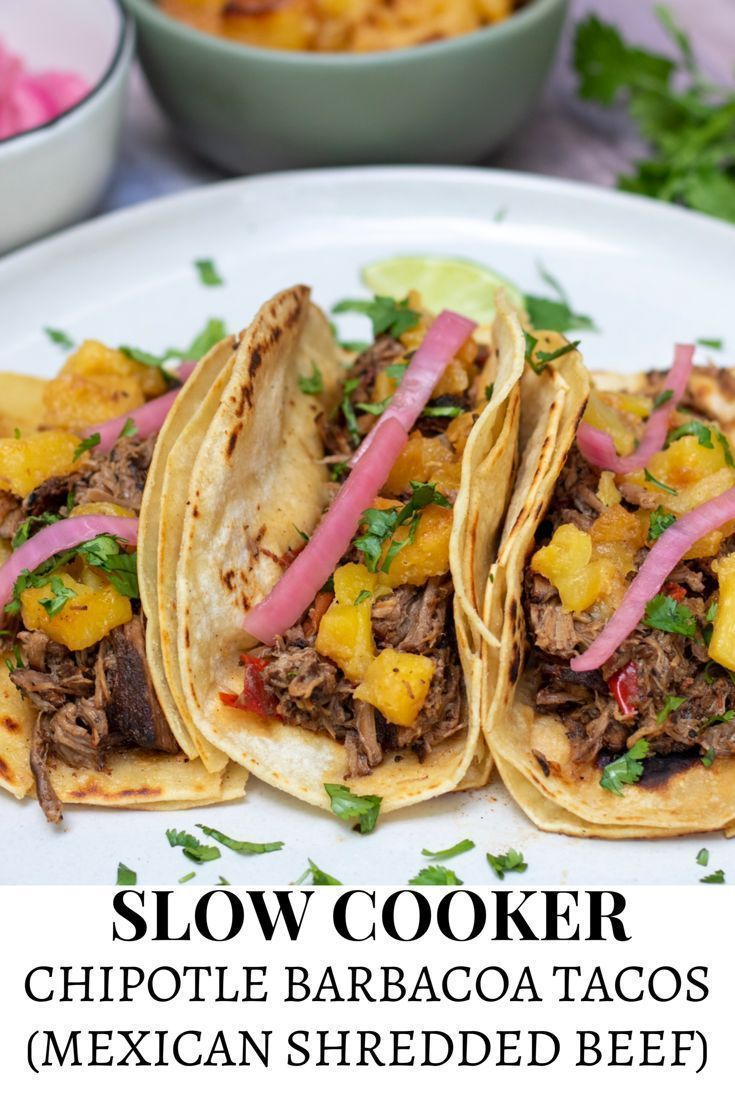 Easy, crockpot chipotle barbacoa tacos (Mexican shredded beef) are slow cooked w…   – Easy Family Dinners