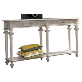 """Calvert Hardwood console table with two drawers and carved accents.    Product: Console table    Construction Material: Hardwood solids and metal   Color: Weathered white     Features: Two drawers with wood glidesRichly carved scrolling accents Elevated bun feet  Dimensions: 34"""" H x 64"""" W x 14"""" D"""