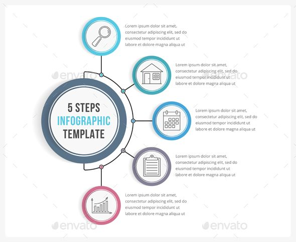 5 Steps Infographic Template PSD, Vector EPS, AI Illustrator