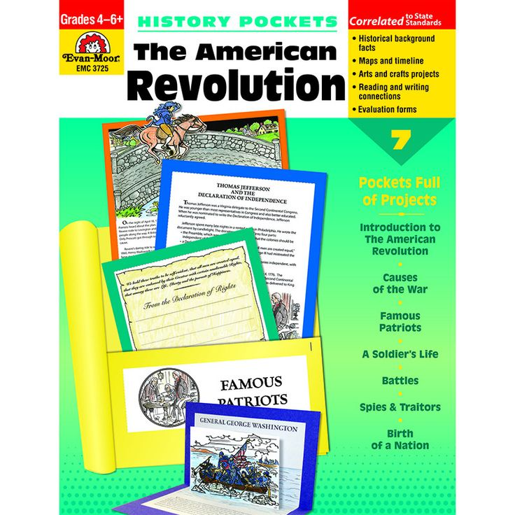 This important period of our country's history will come to life when students create the exciting projects presented in The American Revolution. You get information pages, maps, a timeline, arts and