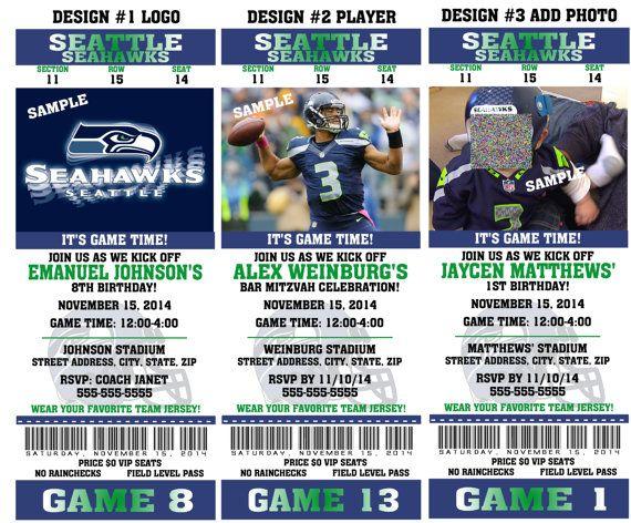 Printable Birthday Party Invitation Card Seattle Seahawks ...