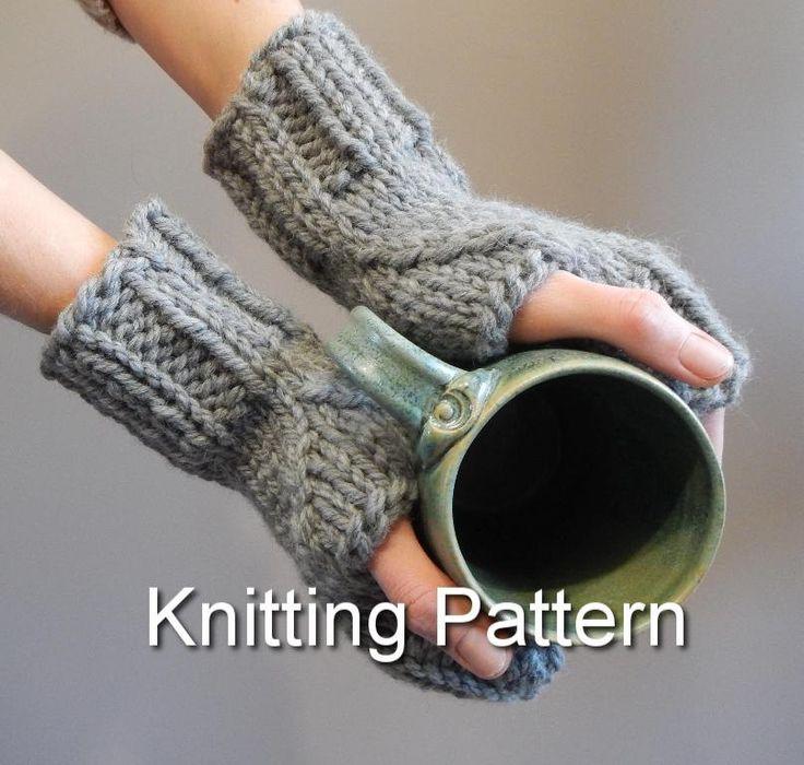 Knitting Pattern, pattern for fingerless knit gloves, mitten pattern, fingerless knit gloves, modern knitting pattern by LoveEweNatural on Etsy