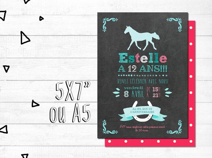 Carte d'invitation anniversaire personnalisée - FICHIER NUMÉRIQUE_fête fille, rose et bleu, équitation, chevaux, chalkboard par MOMYboutique sur Etsy https://www.etsy.com/ca-fr/listing/292786397/carte-dinvitation-anniversaire