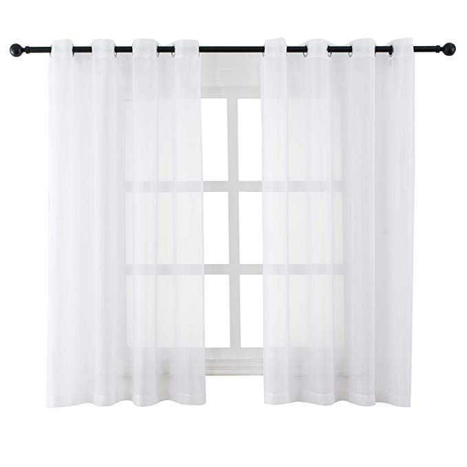 Bermino White Sheer Curtains Voile Grommet Semi Sheer Curtains For