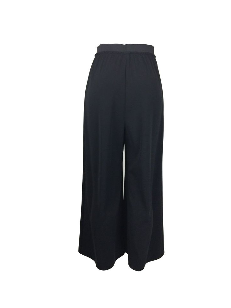 Wide Black Elastic Waistband Crop Pants by Atelieri