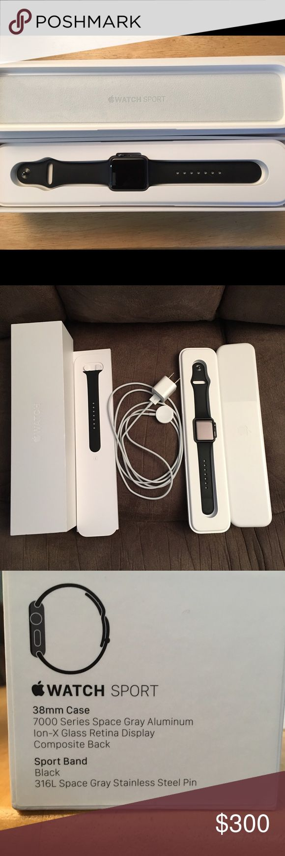 Apple Watch Sport Black 38mm EUC EUC Apple Watch Sport Black 38mm, 7000 series space gray aluminum, Ion-X Glass Retina display, composite back, Sport band, 316L space gray stainless steel pin, used for 3 days, I decided I really don't like watches. Apple Accessories Watches