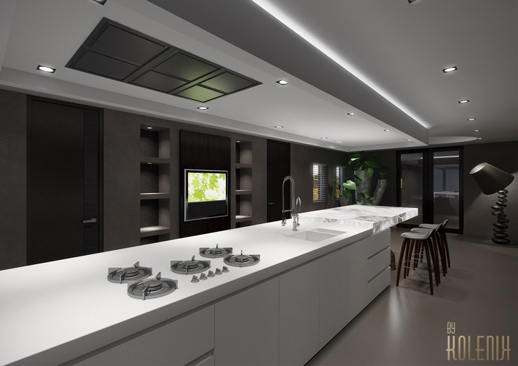 Kitchen With Pure White Onix Illuminated Tabletop. Residence In Progress,  Finished March 2013