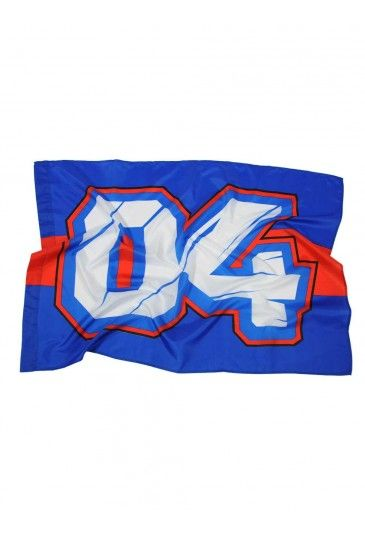 Official Andrea Dovizioso flag to offer full-hearted support to this Italian rider. Blue flag with a red horizontal stripe across the centre, featuring the race number 04.  #AndreaDOvizioso #Ducati