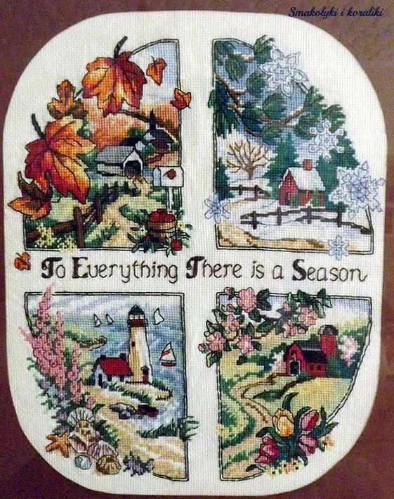 Smakołyki i koraliki: haft krzyżykowy - cztery pory roku