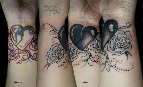Name cover up w/ broken heart and roses tattoo
