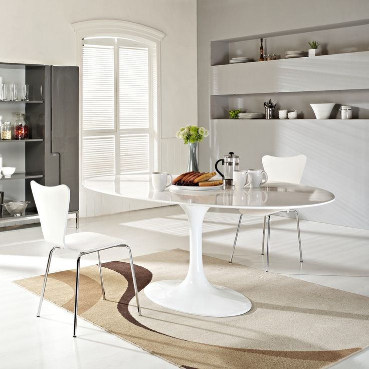 Petite Table De Cuisine Blanche: Lippa 78 Inch Oval Dining Table White Fiberglass