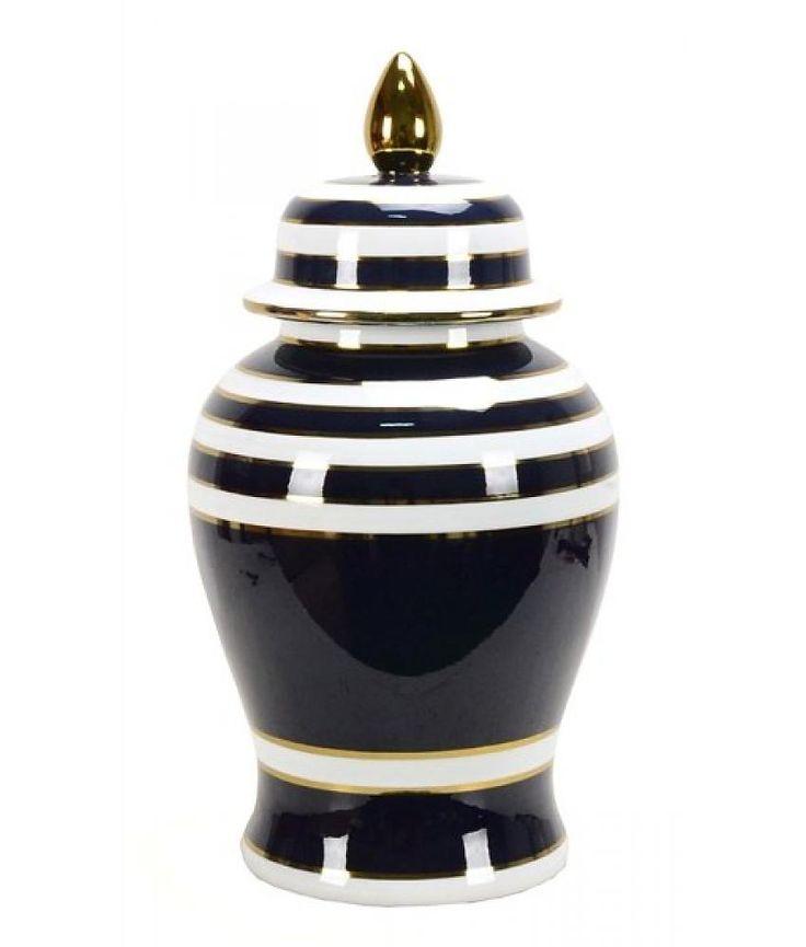 Van Roon Living jar amelia 25x25x49 cm blue/white/gold