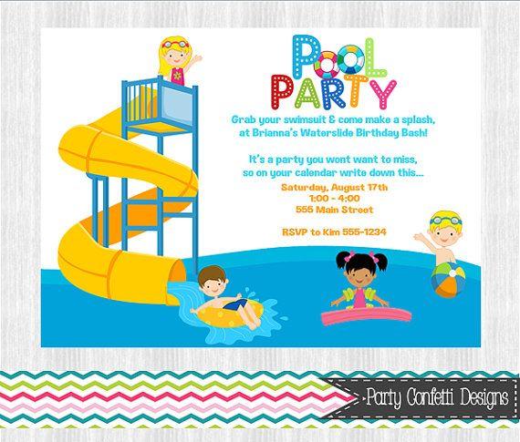water slide pool party invitation printable  you print   digital file  diy