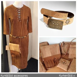 Stoere accessoires van kurk waaronder riemen en tassen.