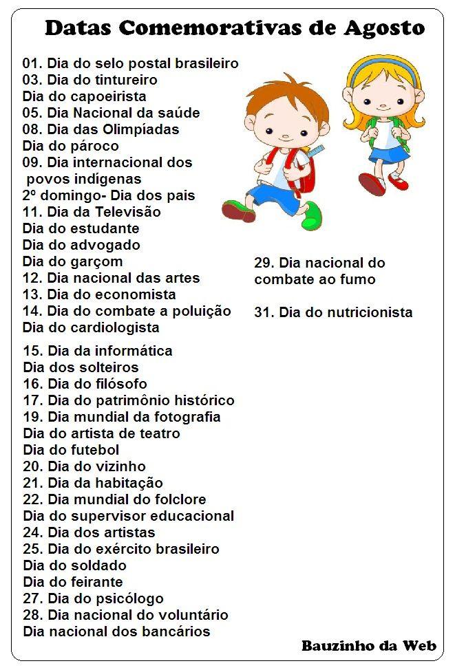 BAUZINHO DA WEB - BAÚ DA WEB Desenhos para colorir pintar e Atividades Escolares: Datas Comemorativas de Agosto!
