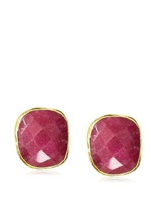 Coralia Leets Square Ruby Quartz Post Earrings