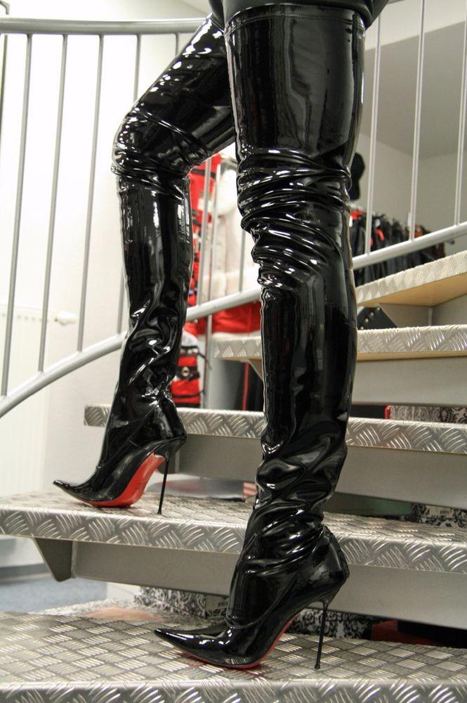 Extralanger italienischer High Heels Designer Stretchstiefel, schwarz, Lack | Kleidung & Accessoires, Damenschuhe, Stiefel & Stiefeletten | eBay!