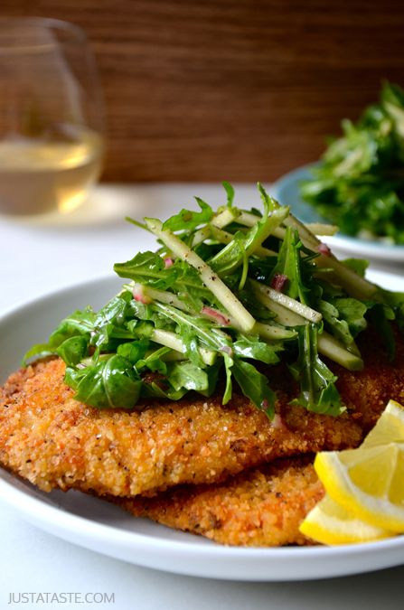Savory apple recipes for dinner: Chicken Milanese with Apple Salad from Just a Taste