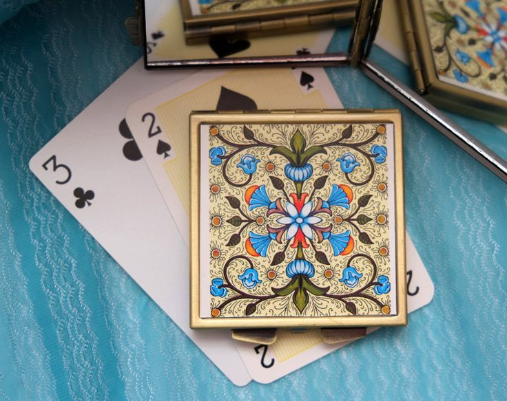 Geometric Pattern, Flowers and Leaves - Compact Mirror from Up-cycled Playing Card by karenarts on Etsy