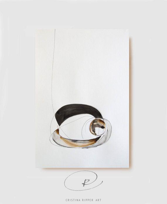 Arte abstracto original tinta dibujo A3-negro, marrón, blanco, gris, moderno, naturaleza, tinta, mínimo, tinta del arte, estructura, bloquear por Cristina Ripper