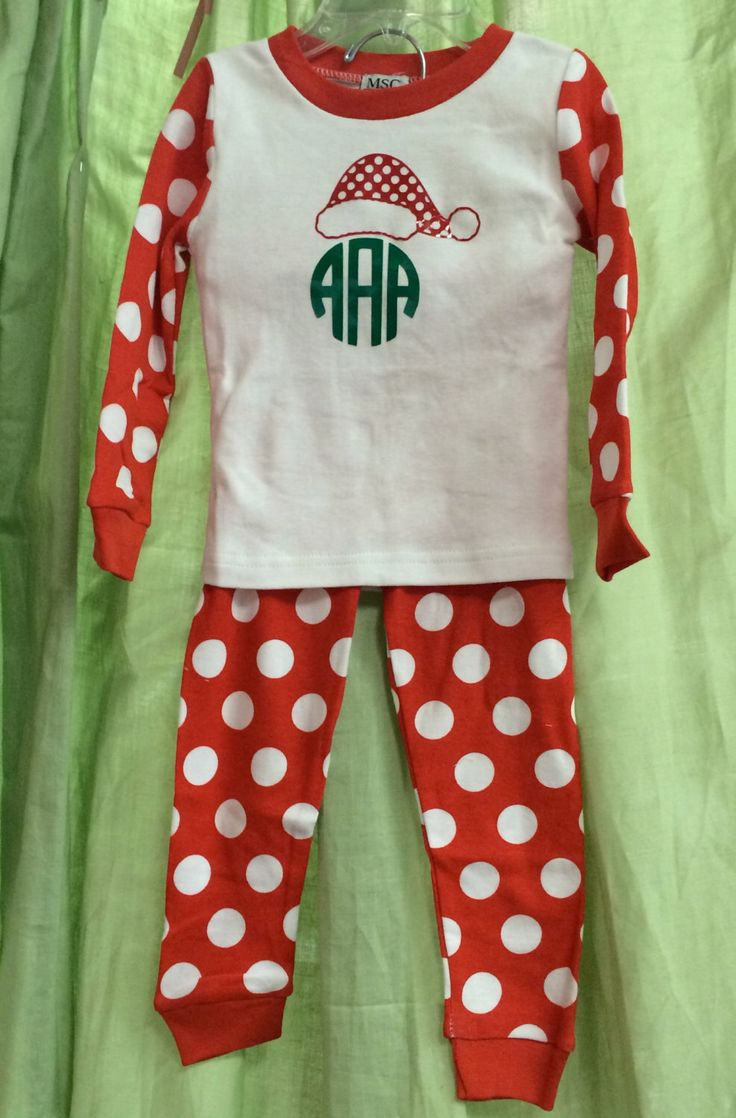 Polka Dot or Stripped Monogrammed Christmas PJs by AnInitialImpression on Etsy https://www.etsy.com/listing/251829841/polka-dot-or-stripped-monogrammed