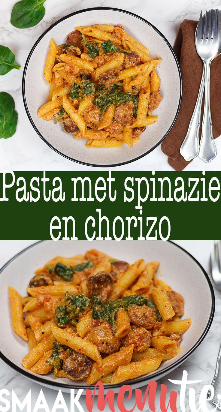 Pasta met spinazie en chorizo