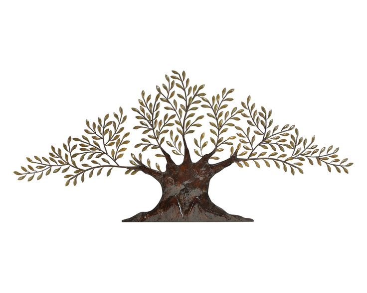 Metal Wall Decor With A Tree Silhouette. Product: Wall DecorConstruction  Material: MetalColor: Brown And Golden Green Dimensions: H X W X DNote:  Assembly ...