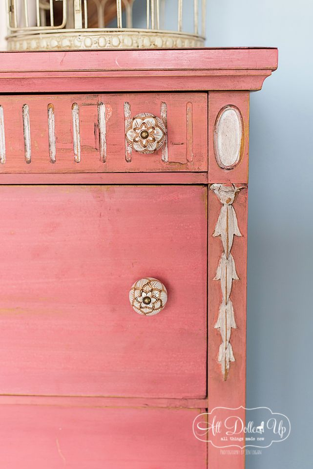 Gorgeous Pink Painted Vintage Dresser from {All Dolled Up} #VintageStorehouseStyle #PinkPaintedDresser