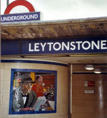 Alfred Hitchcock themed mosaic at Leytonstone station on the Central line.