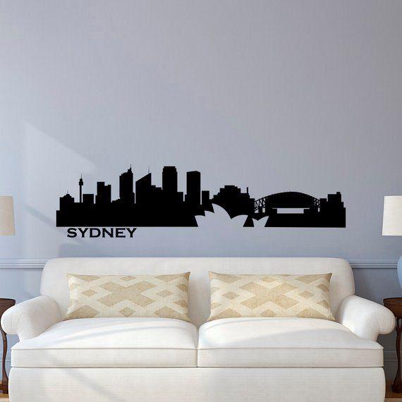 sydney skyline wall decal city silhouette cityscape australia sydney