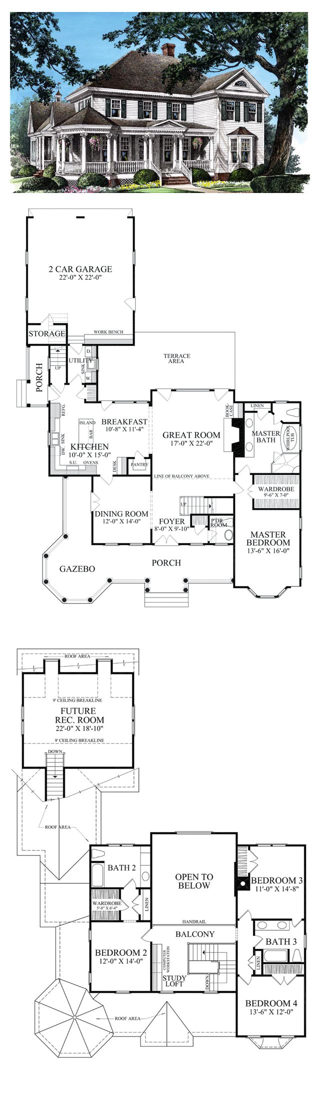 Colonial House Plan 86280 | Total Living Area: 2825 sq. ft., 4 bedrooms & 3.5 bathrooms. #colonial #houseplan