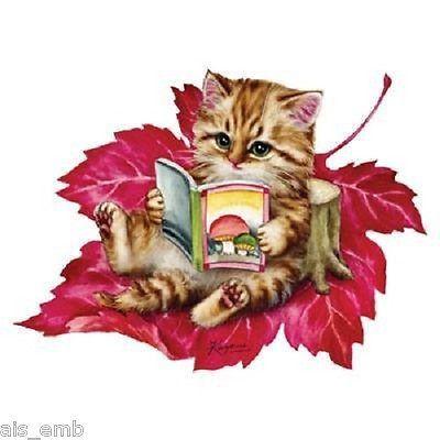 Kitten T SHIRT, Autumn Leaf Kitten Children's T SHIRT,  ( Sweatshirt, Quilt Fabric Block, Tote Bag, Apron, Available On Request) # 274i by AlwaysInStitchesCo on Etsy