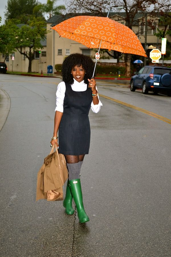 White Button-Up + School Girl Dress + Rain Boots | Style Pantry